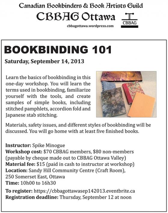 BOOKBINDING 101 WORKSHOP