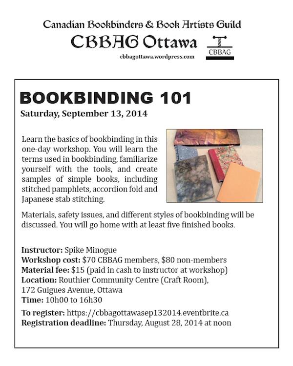 Workshop notice: Bookbinding 101