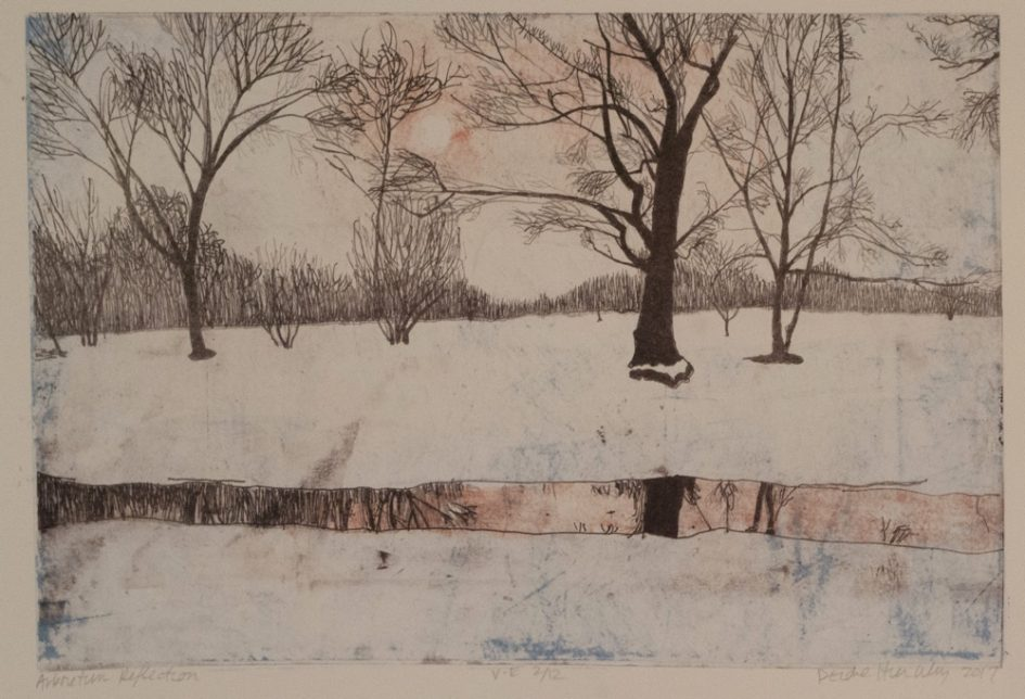 Deirdre Hierlihy. Arboretum Reflection, 2017. Polyester plate lithography, 18 x 24
