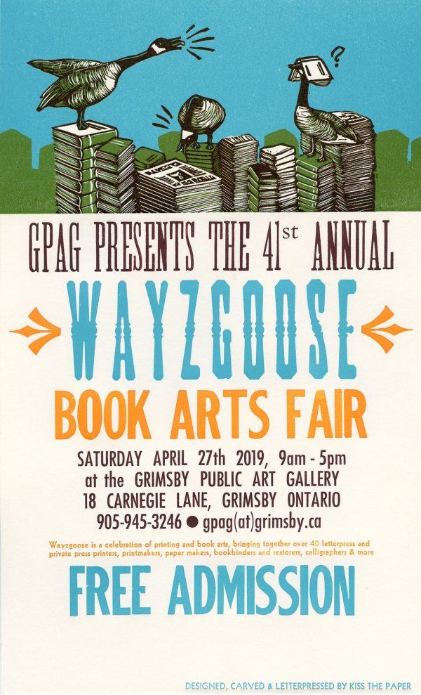 Wayzgoose 2019 poster by Kiss the Paper